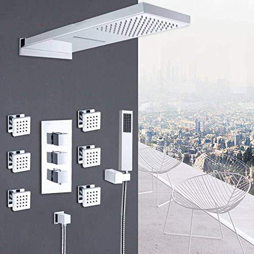 Jkckha Set de ducha ducha termostática del cromo Grifos Set de lluvia Ducha Cascada 6pcs Kit de ducha de hidromasaje Jets de 4 vías mezclador termostático grifo de la bañera