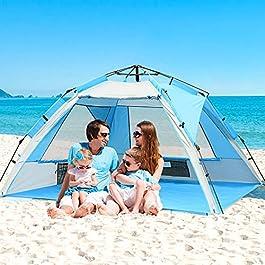 ZOMAKE Tente de Plage Instantanée Familiale, Abris de Plage Automatique Ventilée Anti UV UPF 50+, Abri de Soleil pour…