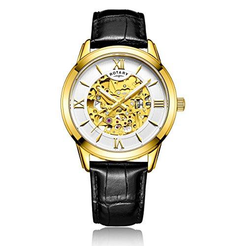 Rotary - Reloj automático para Hombre, Correa de Piel, Color Negro