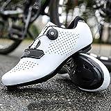 Chaussures de Vélo de Route pour Hommes Chaussures de Vélo avec Crampons Compatibles Chaussure Peloton avec SPD et Delta pour Chaussures de Vélo à Pédale de Verrouillage pour Hommes (White,EU45-UK11)