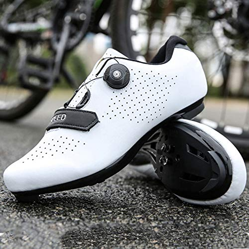 Zapatillas de Ciclismo de Carretera para Hombre Zapatillas de Ciclismo con Tacos Zapatillas de Pelotón Compatibles con SPD y Delta para Zapatillas de Ciclismo (White,EU41-UK7.5)