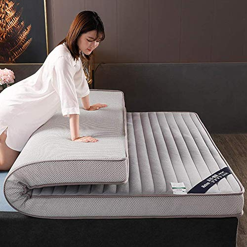 HJGHY Thick Emulsion Mattress, Breathable Sleeping Pad Plush Floor Mat Foldable Mattress Topper for Single Double Mattress Pad,Gray,King