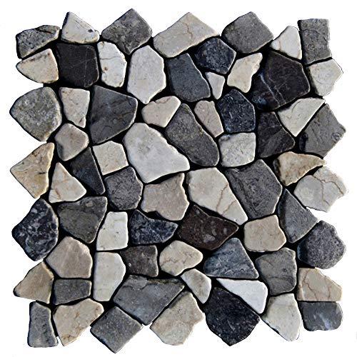 M-1-009 - 1 m² = 11 Fliesen - Natursteinmosaik Marmor Bruchstein Mosaikfliesen Naturstein Fliesen Lager Verkauf Stein-Mosaik Herne NRW Bodenfliesen