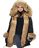 Aofur Chaqueta de mujeres Ropa Abrigo largo caliente Cuello de piel con capucha Chaqueta Parka de invierno Desgastar (Small, Negro)