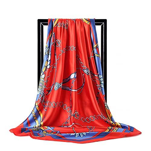 Bufanda de seda para mujer, cuello de pelo de 90 x 90 cm, bufandas cuadradas para damas, chal, pañuelo musulmán, máscara de pañuelo hijab para moda facial (color: tipo 14, tamaño: 90 x 90 cm)