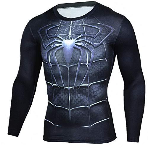 HOOLAZA T-Shirt Spiderman Noir T-Shirt de Compression Chemises de Sport Homme Manches Longues