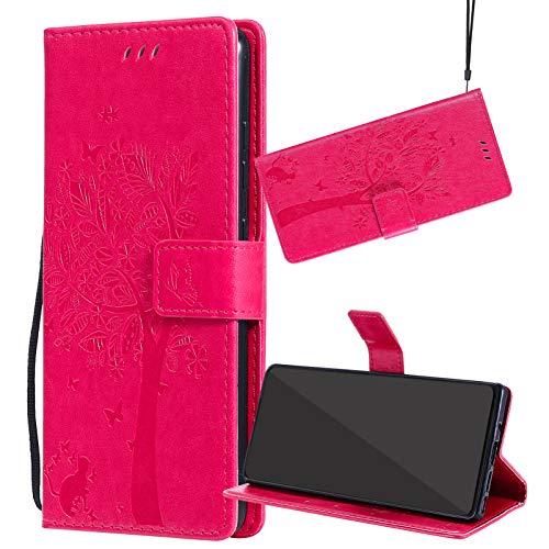 Yiizy Funda para Redmi Note 10 4G, Carcasa Cuero para Redmi Note 10 4G Tapa Piel Billetera Interior de Silicona TPU para Redmi Note 10 4G, con Soporte y Ranuras para Tarjetas (Rosado)
