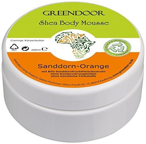 Körperbutter Greendoor Bodymousse Sanddorn Orange, Natur Body Butter 200ml, rein natürliche Inhaltsstoffe, Naturkosmetik vegan mit BIO Shea-Butter, Haut-Pflege Creme, Geschenke