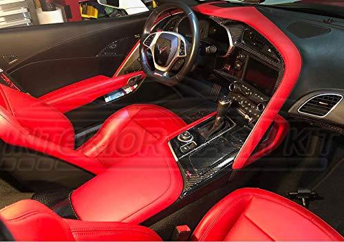 Interior Real Carbon Fiber Dash Trim Cover KIT Set for Chevrolet Chevy Corvette C7 C-7 2014 2015 2016 2017 2018 2019