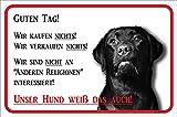 AdriLeo Schild - Vorsicht schwarzer Labrador Retriever - Wir kaufen nichts - (30x40cm) / Achtung Hund Wachhund