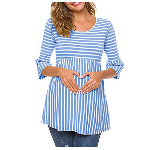 AMhomely Blusa de manga larga con cuello en O, para mujeres embarazadas, con capucha, para lactancia, para embarazadas, para el trabajo, tallas S-4XL