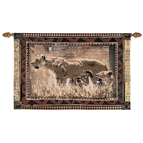 Design Toscano African Wildlife Protecting Her Cubs Wall Tapestry, Full Color
