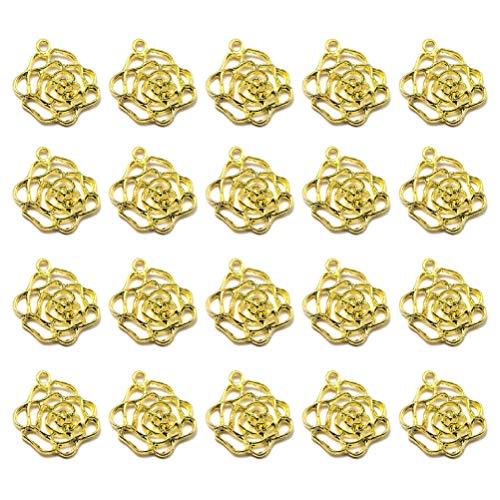 PRETYZOOM 20St Gouden Bloem Bedels Hanger Voor Het Maken Van Sieraden Ketting Armband Oorbel Diy Sieraden Accessoires Bedels