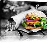 perfekter Burger mit Pommes schwarz/weiß Format: 80x60 auf