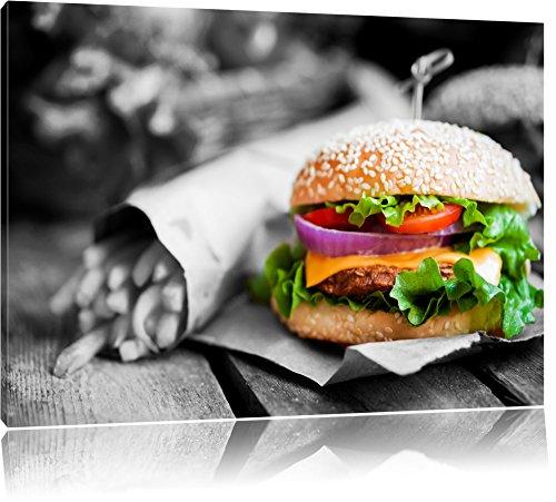 perfekter Burger mit Pommes schwarz/weiß Format: 100x70 auf Leinwand, XXL riesige Bilder fertig gerahmt mit Keilrahmen, Kunstdruck auf Wandbild mit Rahmen, günstiger als Gemälde oder Ölbild, kein Poster oder Plakat