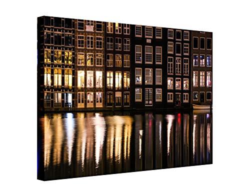 Wandhelden Amsterdam, nachtelijke spiegelingen modern 60 x 80 cm