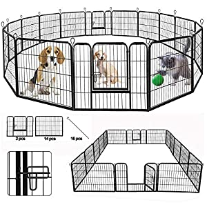 SUNCOO Dog Pen, 8/16 Panels 24/32/40 in Heavy Duty Folding Large Metal Dog Fence, Cat Puppy Pet Exercise Playpen, Indoor Outdoor Anti-Rust Pet Crate Cage Barrier Kennels