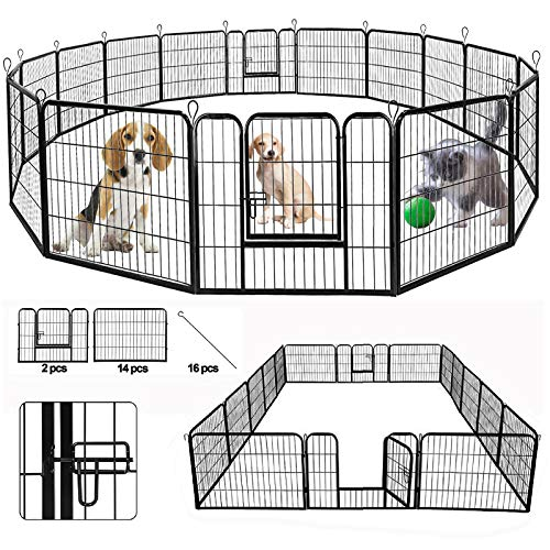 SUNCOO Dog Pen, Heavy Duty Folding Large Metal Dog Fence, Cat Puppy Pet Exercise Playpen, Indoor Outdoor 16 Panels 24 in Anti-Rust Pet Crate Cage Barrier Kennels (16 Panels Black, 24 in)