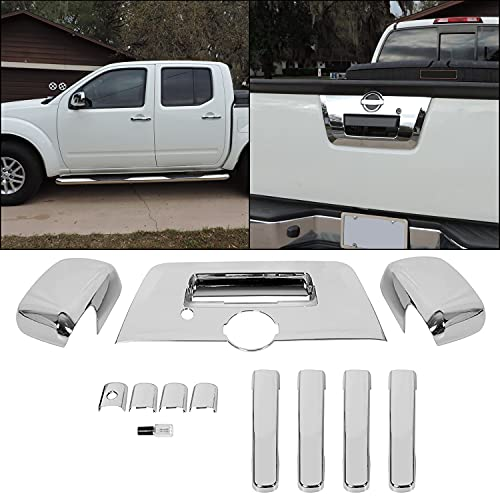 ECOTRIC Triple Chrome Mirror + 4 Door Handle + Full Tailgate Cover Compatible with 2013-2019 Nissan Frontier