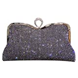 Syrads Bolso de Boda Dorado Clutch Mujer Fiesta Carteras de Mano Bolso de Noche Bandolera con Cadena para Ceremonia Novia Diamantes 722 (Negro 2)
