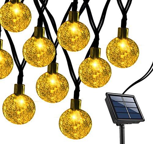 Anstore Solar Lichterkette Außen,70 LED Solar Garten Lichterkette, Kristall Kugeln Lichterkette 12 Meter,8 Modi IP44 Wasserdicht Außer/Innen Lichter Beleuchtung für Garten,Bäume,Partys Deko (Warmweiß)