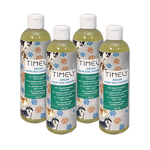 Timely Argan-Hundeshampoo, sanft und doch gründlich für raues und trockenes Haar (Pack of 4 x 250 ml)