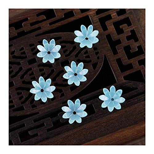 JINAN 50pcs/lot 9mm Resin Flower Beads Hair Clip Hairpinmaking Handmade Accessories Material Loose Beads With Hole (Color : Light blue)