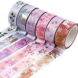 Set di Washi Tape Nastri Colorati Adesivi Decorativo Coprente Nastro Carta Adesivo Colorato per Decorare Agende Scrapbook Album Foto e Progetti Artistici Fai da Te (6 Rotoli)