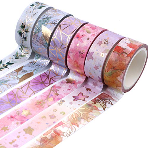 Pveath Washi Tape Set, 6 Rollen Deko-Gold Folie Washi Tape, 5M Washi Masking Tape Set Klebeband Deko für Scrapbooking DIY Handwerk