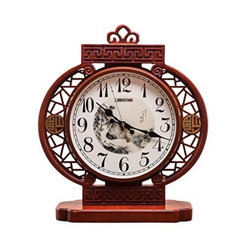 kerryshop Reloj Despertador Nuevo Chino Classical Table Reloj Sala de Estar Estudio Decoración Mesa Reloj Hogar Personalidad Creativa Estilo Chino Pequeño Reloj Mute Rojo Reloj de Escritorio