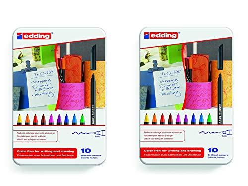 Edding 4-1200-10 - Rotuladores de colores (estuche metálico, 2 paquetes de 10 unidades)