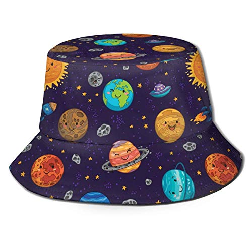 Lawenp Nave Espacial Espacial Azul Lindo Unisex impresión Sombrero de Cubo patrón Sombreros de Pescador Verano Reversible Tapa Plegable Mujeres Hombres niña niño