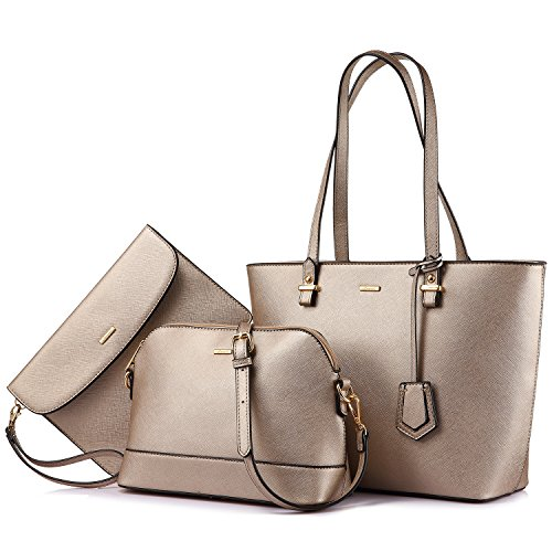 Handbags for Women Shoulder Bags Tote Satchel Hobo 3pcs Purse Set Pearlescent-Khaki