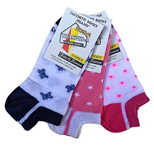 Lucchetti Socks Milano 6 paia fantasmini bambino/a 92% cotone leggeri fantasia filo di scozia Made in Italy dal 27 al 38 invisibili calzini bassi sotto la caviglia (27-30, Set Lisa)