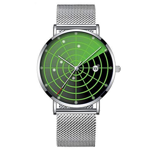 Minimalistische Fashion Quarz-Armbanduhr Elite Ultra Dünn Wasserdicht Sport Uhr mit Datum mit Netzband 086.Radar Uhr Hintergrund Grafik