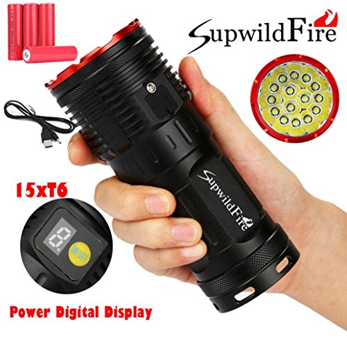 LED Taschenlampe 50000 Lumen, Gusspower 15 x XM-L T6 LED Digitalanzeige Superhelle LED wasserdichte Tragbare Fackel, 3 Einstellungen Hell, mit 4x18650 Wiederaufladbare Lithiumbatterien (Rot)