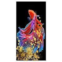 """カラー鯉魚風景画キャンバスアートクアドロスポスタープリントスカンジナビアの壁アート写真リビングルーム21.6"""" x43.3""""(55x110cm)フレームレス"""