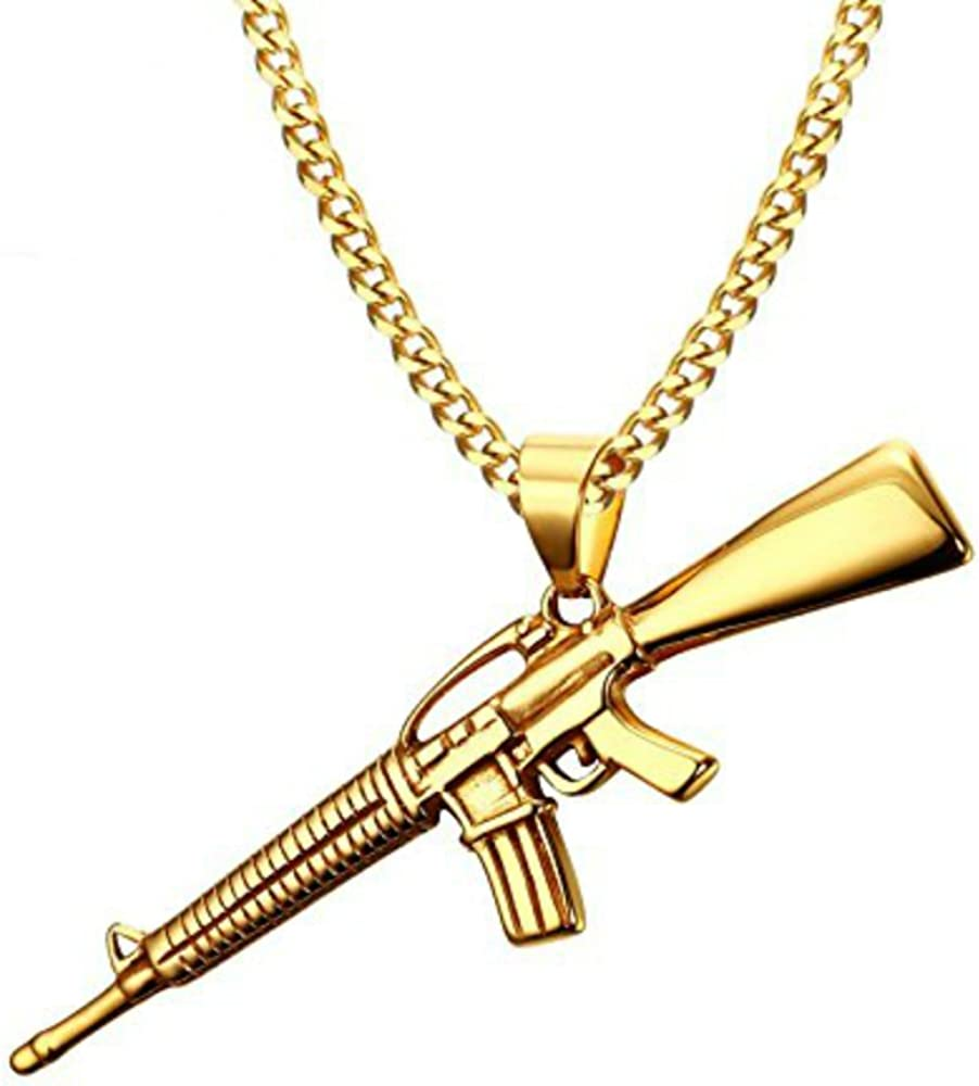 USUASI Collar con colgante para rifle de asalto M-16 con cadena de acero inoxidable chapada en oro de 18 quilates