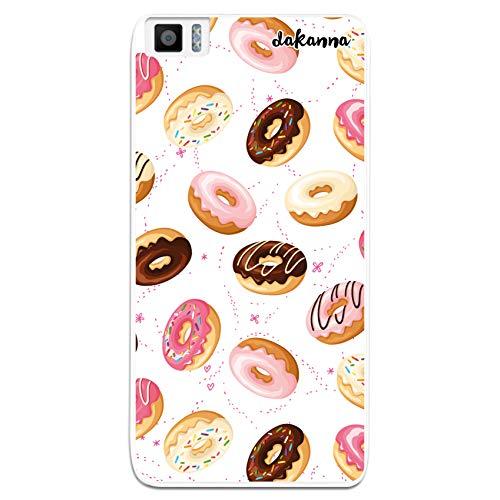 dakanna Funda Compatible con [ Bq Aquaris M5.5 - M 2017 ] de Silicona Flexible, Dibujo Diseño [ Donuts de Crema y Chocolate ], Color [Borde Transparente] Carcasa Case Cover de Gel TPU para Sma