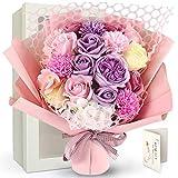 YOBANSA 艶やかな花 なまめかしく美しいう様な ソープフラワー 造花 花束 バラ カーネーション 母の日、バレンタインデー、発表会、卒業祝い、入学祝い 女性 お誕生日 プレゼント 結婚記念日 結婚式などのギフト カード付き 手提げ袋入り(浅紫と桜色)
