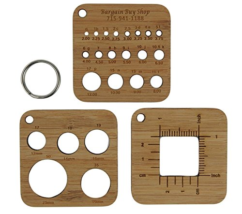 Bamboo Knitting Needle Gauge and Ruler or Stitch Counter in US and Metric (Small 3 Piece)