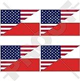USA Vereinigte Staaten von Amerika und POLEN, Amerikanisch und Polnische Flagge, Fahne 50mm Auto & Motorrad Aufkleber, x4 Vinyl Stickers