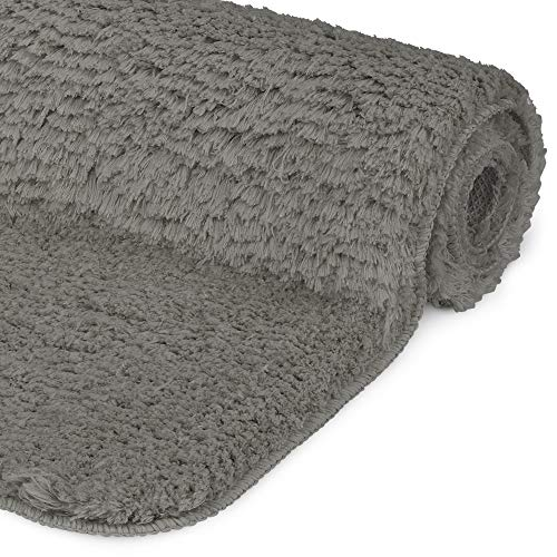 Beautissu Badematte rutschfest BeauMare FL Hochflor Teppich 120x70 cm Anthrazit - WC Badteppich Flauschige Bodenmatte oder Badvorleger für Dusche, Badewanne und Toilette - Fußbodenheizung geeignet
