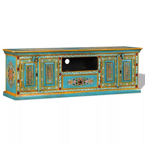 UnfadeMemory Mueble para TV,Mesa para TV,Armario Auxiliar,Aparador,Decoración de Hogar,Bonitos Detalles Decorativos Pintados a Mano,Madera Maciza de Mango,120x30x40cm (Azul)