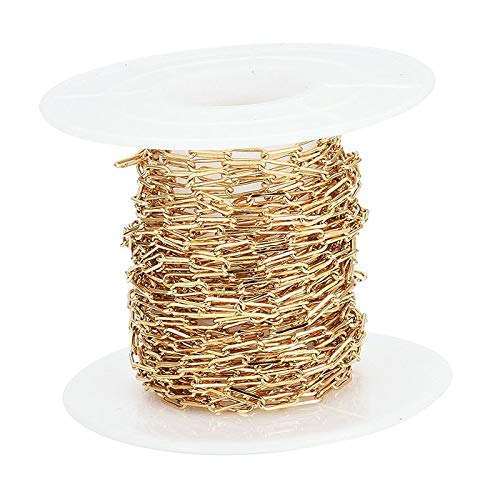 Sharplace Cadenas de Cable de Oro 18K Chapado en Oro Cadenas de Clip de Papel con Carrete para Collar Accesorios de joyería DIY Hacer 5 Metros