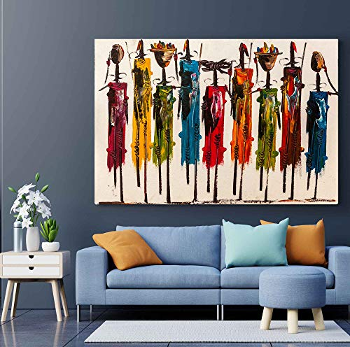 Meteor Gallery Cuadro abstracto africano para pared Masai, pintura africana colorida, decoración africana, arte africano, tríptico africano, lienzo grande, 1 panel: 40 x 60 cm