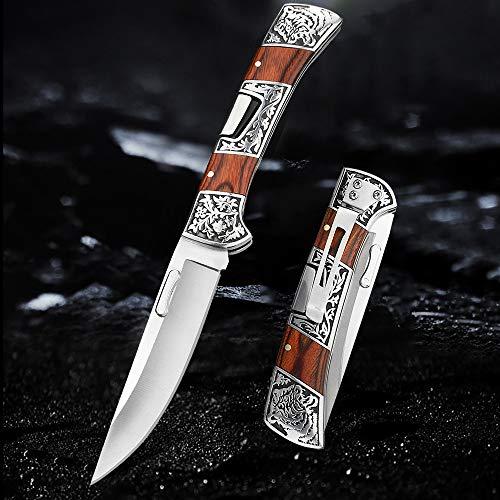 NedFoss Zweihand Klappmesser, Taschenmesser mit Gürtelclip, EDC Messer mit Back Lock, Outdoormesser Jagd klappmesser in schönes Design