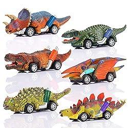 🦕[Funzionamento semplice] L'auto giocattolo dinosauro è molto adatta per bambini dai 2 agli 8 anni. Non ha bisogno di una fonte di alimentazione. Può lavorare da sola tirando la forza. Più l'auto viene trascinata indietro, maggiore è la distanza che ...