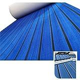 yuanjiasheng 90 × 240cm Suelo de Espuma EVA para Barcos, lámina de Cubierta de Teca Marina para Alfombra Antideslizante de Yates con Adhesivo de Respaldo, Borde Biselado (Azul Oscuro con Negro)