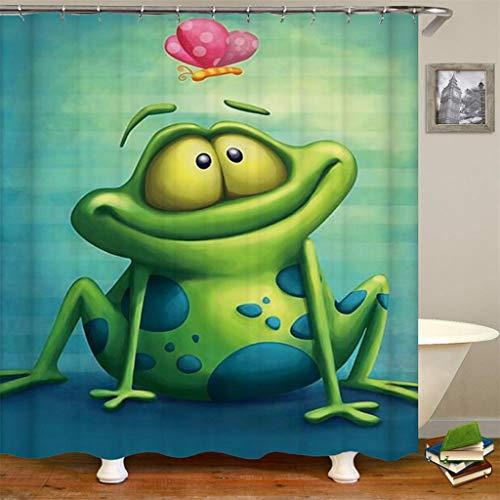Duschvorhang Duschvorhang-Frosch-lustiger tierischer grüner Netter Frosch mit Lotus Cartoon Buttefly Frog auf dem Zweig der Baum-Vorhänge
